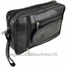25NEW Gents Black LEATHER Handy Wrist Travel Pouch MANBAG by Prime Hide Utility