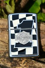 Zippo Lighter - Harley Davidson - Checkered Flag - European - AMF #1 Bar Shield