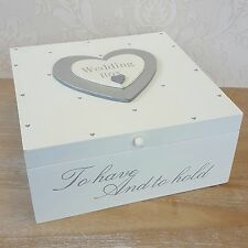 Memory Keepsake Cream Ivory Wooden Silver Heart Memories Box Wedding Gift