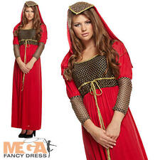 Juliet Medieval Maid Marion Ladies Fancy Dress Womens Costume Outfit UK 10 12 14