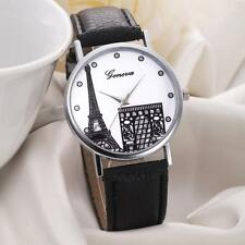 GENEVA Fashion Womens Watch Eiffel Tower Leather Analog Quartz Wrist Watch DZ01