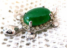 ELABORATE TURTLE PENDANT MOUNTED WITH GREEN STONE CABOUCHON & CLEAR CRYSTALS