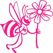 Cute Bee with Flower  Vinyl Sticker,Decal,Car Bumper,Window,Laptop,Wall,Mirror
