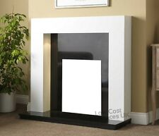 GAS ELECTRIC WHITE WOOD SURROUND BLACK GRANITE MODERN WALL FIRE FIREPLACE SUITE