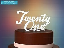 """Twenty One"" - White - 21st Birthday Cake Topper - Made by OriginalCakeToppers"