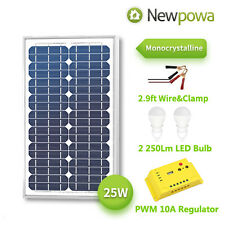 NewPowa  25W 12V Mono Solar Panel PWM 10A Charge Controller Battery Charger Kit