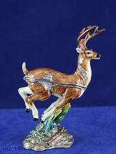 Enameled Pewter  Bejeweled Trinket Box with Treasure Inside - Red Buck Deer