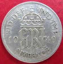 "Vintage Wartime 1940 U.K. SIX PENCE SILVER COIN, King George VI ""AU"" Condition"