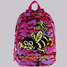 "Ed Hardy Girl's Backpack Misha Bee Camo 16"" Nylon Pink Purple Tattoo Graphic NEW"