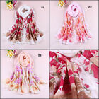 New Women Girl Chiffon Flowers Soft Long Neck Scarf Shawl Scarves Stole Wraps 84