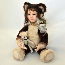 OOAK artist handmade cat teddy doll with a toy mouse, 9 ½in.
