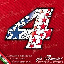 Adesivo Stickers NUMERO 4 moto auto cross gara STAR Blu & Rosso 15 cm
