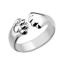 Cute Women Cat Paw Claw Open Ring Silver Plated Finger Ring Animal Jewelry Gift