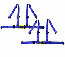 Pair 3 4 Point 4PT H-Style Car Safety Harness Racing Seat Belt Stitches Blue