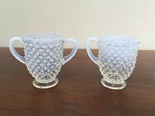 FENTON French Opalescent Hobnail Footed Creamer & Open Sugar Bowl Set