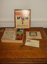 Monoply game 1947 edition Parker Brothers pieces