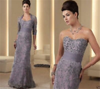 3/4 Sleeve Lace With Jacket Mother Of The Bride Dress Lace Wedding Evening Gown
