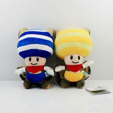 2pcs Super Mario Bros Plush Flying Squirrel Yellow & Blue Toad Soft Toy Doll 8""