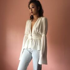Stone Cold Fox Plunging Silk Blouse
