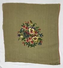 X-Large VTG Finished Needlepoint Floral Pansies Petit Point Humming Birds 24x24