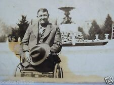 RPPC GENTLE MAN WITHOUT LEGS IN HIS WHEEL CHAIR REAL AZO PHOTO 1920's POSTCARD