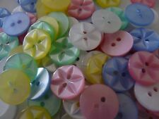 100 ASSORTED COLOURS STAR BUTTONS SIZE 26 - 17MM