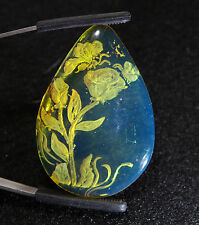 Blue Dominican Amber Etching of a Flower 8.2g