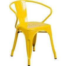 Flash Furniture Yellow Metal Indoor-Outdoor Chair with Arms