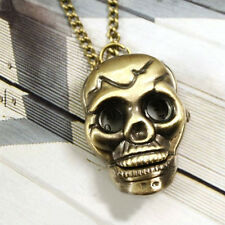New Mens Retro Punk Skull Bronze Necklace Chain Pocket Watch Necklace Chain Gift