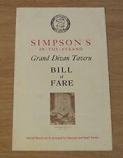 """VTG 1956 BRITISH Menu/BILL of FARE~""""SIMPSON'S In-The-STRAND""""~Comic ART~"""