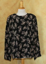 Doncaster Fabulous Black Taupe Asian Floral Silk L/S Blouse Shirt Top 14 (XL)