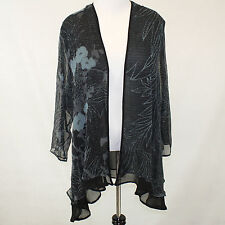 NEW NWT Citron Clothing Black & Teal Floral Sheer Layered Cardigan Blouse 1X