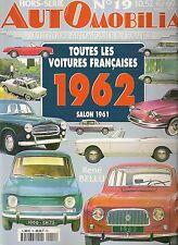 AUTOMOBILIA HS 19 TOUTES LES VOITURES FRANCAISES 1962 (SALON 1961)