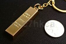 Novelty faux gold bar ingot bullion keyring keychain bag charm + velvet gift bag