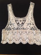 Millau White Crochet Lace Cropped Tank Top Size M/L