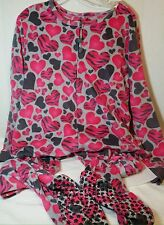 Tarea by Rue 21 Pink Gray Hearts of Love Footed Pajamas One Piece L NEW LAST ONE