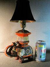 Satsuma Moriage Porcelain Japanese Elephant Lamp Large Signed Rewired Working