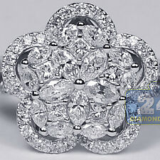 Womens Diamond Flower Ring 18K White Gold 1.51 ct Marquise Round Princess