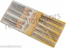 NEW 5 PAIRS CHINESE STAINLESS STEEL CHOPSTICKS SET 5 PRS CHINESE WRITING STICKS