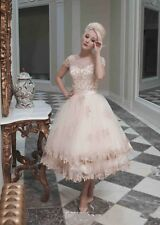 New Champagne A Line Tea Length Wedding Dress Short Sleeves Lace Bridal Gown