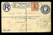 MALTA REGISTERED STATIONERY KG5 3d + 1 1/2d 1925