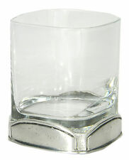 Bicchiere in vetro e peltro, Glass in glass and pewter,made in italy Cavagnini