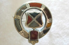 Victorian Handmade, Handchased Silver & Polished Agate , Shield Scottish Brooch