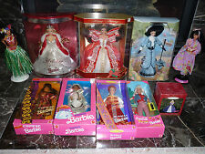 Rare Lot of 10 Barbie Mattel Dolls of the World, Collector Editions, Coca Cola