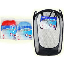 2x Portable Laundry Bag Basket Pop Up Mesh Hamper Foldable Wash Clothes Storage