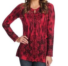 ONE WORLD WOMEN'S PLUS SIZE RED BLACK EMBELLISHED LONG SLEEVE BLOUSE TOP Sz 2X
