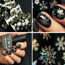 1Pc Nail Art Transfer Foils Sticker Christmas Snowflake Holographic Paper Tip L7