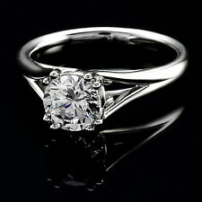 1 CT Round Cut F/VS2 Solitaire Diamond Engagement Ring 14K White Gold Enhanced