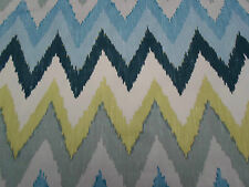 Schumacher Curtain Fabric ~ 'Adras Ikat' 0.9 METRES Sky Colourway 100% Cotton