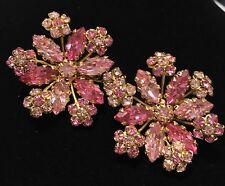 Vintage  Hobe Spectacular Pink Floral Rhinestone Over- sized Clip Earrings